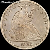 1876 S SEATED LIBERTY HALF DOLLAR 50C 6354.D0066  XF  TO AU