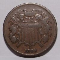 1869 TWO CENT PIECE , VG