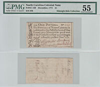 DECEMBER 1771 1 POUND COLONIAL CURRENCY PMG ABOUT UNCIRCULATED 55