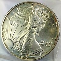 1990 $1 AMERICAN SILVER EAGLE / ASE BULLION COIN   BRILLIANT UNCIRCULATED
