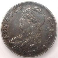 1808 CAPPED BUST HALF DOLLAR 50C   ICG AU58 DETAILS    DATE CERTIFIED COIN