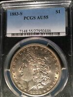 1883 S MORGAN DOLLAR PCGS AU 55