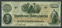 1862 CONFEDERATE STATES OF AMERICA $100 NOTE T 41 SLAVES HOEING COTTON RICHMOND