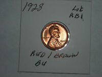 1928   LINCOLN CENT    WHEAT PENNY   UNC.  RED/BROWN  BU     LOT RB1