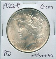 1922 P PEACE DOLLAR UNCIRCULATED US MINT COIN PQ GEM SILVER COIN UNC MS