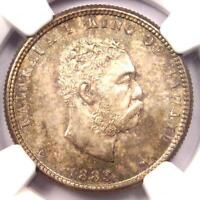 1883 HAWAII KALAKAUA QUARTER 25C COIN   NGC MS66 GEM BU   $1,550 VALUE