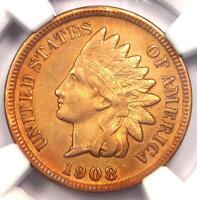 1908 S INDIAN CENT 1C   NGC AU DETAILS    KEY DATE   CERTIFIED PENNY