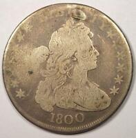 1800 DRAPED BUST SILVER DOLLAR $1   GOOD DETAILS VG    TYPE COIN