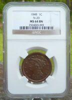 1848 BRAIDED HAIR LARGE CENT   NEWCOMB 20   MS64     SPECIAL  SEE ALL PHOTOS