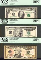 3 $10 NOTES 1995 2001 2009 ALL C00000345A GEM 64/67/66 PPQ BY PCGS CURRENCY