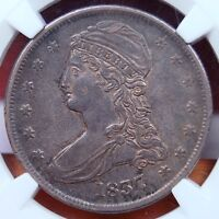 1837 REEDED EDGE CAPPED BUST HALF DOLLAR NGC AU 50 EXCELLENT ORIGINAL COIN