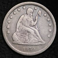 1859 O SEATED LIBERTY QUARTER CHOICE VF  E163 TPM