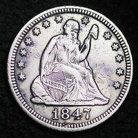 1847 SEATED LIBERTY QUARTER XF DETAIL  E108 MT