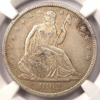 1862 S SEATED LIBERTY HALF DOLLAR 50C   CERTIFIED NGC XF45    CIVIL WAR DATE