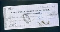 MESSRS WELLS HOGGE AND LINDSELL  BANK  CHEQUE 1859