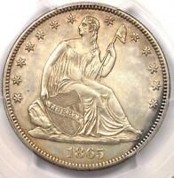 1865 SEATED LIBERTY HALF DOLLAR 50C   PCGS UNCIRCULATED DETAIL UNC MS
