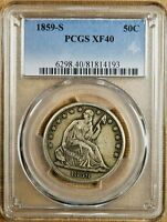 1859 S PCGS XF40 SEATED HALF DOLLAR   BETTER DATE