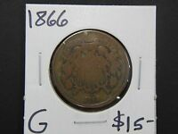 1866 GOOD TWO CENT PIECE CIRCULATED - DISCOLORED