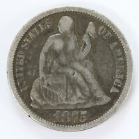1875 P SEATED LIBERTY DIME W/LEGEND   F 01318097G