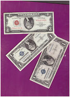 1 1963 2 DOLLAR RED SEAL AND 1 1935 & 1 1957 SILVER CERTIFICATE LOT  B 482