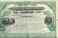 CANADA SOUTHERN RAILWAY COMPANY..LATE 1800'S BOND CERTIFICATE