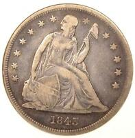 1843 SEATED LIBERTY SILVER DOLLAR $1   ANACS VF30 DETAILS    CERTIFIED COIN