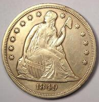 1849 SEATED LIBERTY SILVER DOLLAR $1   XF/AU DETAILS    EARLY TYPE COIN