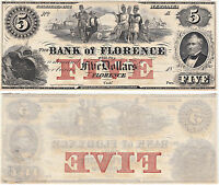 1860'S $5 BANK OF FLORENCE  FLORENCE FLORIDA OBSOLETE CURRENCY CCU