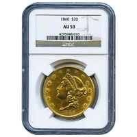 CERTIFIED US GOLD $20 LIBERTY 1860 AU53 NGC