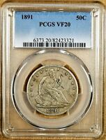1891 PCGS VF20 SEATED HALF DOLLAR   BETTER DATE