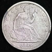 1865 S SEATED LIBERTY HALF DOLLAR DETAIL XF SHIPWRECK AFFECT FREE P/H E151 ET