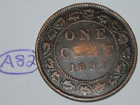 CANADA 1897 1 LARGE CENT CANADIAN ONE VICTORIA PENNY COIN LOT A82