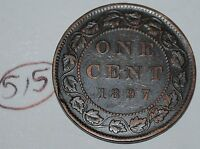 CANADA 1897 1 LARGE CENT CANADIAN ONE VICTORIA PENNY COIN LOT 515