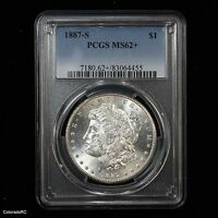 1887-S $1 MORGAN SILVER DOLLAR MSD PCGS MINT STATE 62 OUTSTANDING