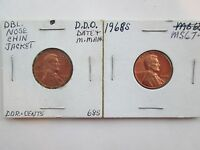 TWO 2 EA. 1968 S BRILLIANT UNCIRCULATED LINCOLN MEMORIAL CENTS