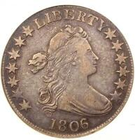 1806/5 DRAPED BUST HALF DOLLAR 50C O-101 - ANACS VF30 PQ -  - $1,392 VALUE