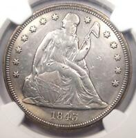 1843 SEATED LIBERTY SILVER DOLLAR $1   NGC XF DETAILS    EARLY DATE COIN