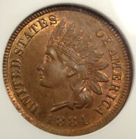 1884 INDIAN CENT CHOICE UNCIRCULATED CERTIFIED SLABBED ANACS MS 65