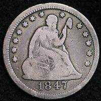 1847 SEATED LIBERTY QUARTER CHOICE FINE  E232 HT
