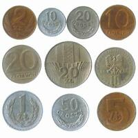 DIFFERENT 10 POLISH COINS POLAND COLLECTIBLE OLD MONEY SET 1949   2015