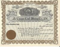 THE CANYON COAL MINING CO. LTD..EARLY 1900'S UNISSUED STOCK CERTIFICATE