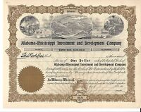 ALABAMA MISSISSIPPI INVESTMENT AND DEVELOPMENT COMPANY.EARLY 1900'S STOCK