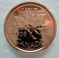 2006P CANADA 1 CENT STEEL PROOF LIKE MAGNETIC PENNY