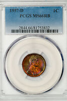 1957 D LINCOLN CENT PCGS MS66RB VIVID MULTICOLOR RAINBOW TONING 2844.355602X