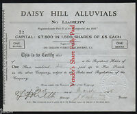 SHARE SCRIP   GOLD MINING. 1935 DAISY HILL ALLUVIALS N/L  NEAR MARYBOROUGH VIC