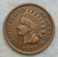 1907 INDIAN HEAD CENT PENNY NICE OLD COIN LIBERTY FAST S&H 53781