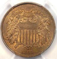 1865 TWO CENT PIECE 2C   PCGS UNCIRCULATED DETAIL MS UNC    CERTIFIED COIN