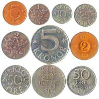 10 DIFFERENT SWEDISH COINS. OLD COLLECTIBLE SWEDEN   SVERIGE MONEY: ORE KRONOR