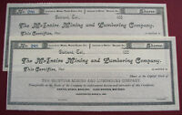 367   OAKLAND CA 2 OLD 1880'S MCINTIRE MINING & LUMBERING CO STOCK CERTIFICATES