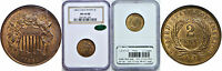 1864 LARGE MOTTO TWO CENT PIECE NGC MINT STATE 65 RB CAC